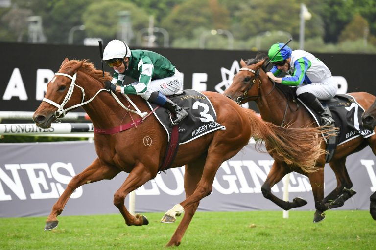 Hungry Heart (Kerrin McEvoy) trained by Chris Waller wins the AJC Oaks (Group 1) at Randwick on April 17, 2021 - photo by Martin King/Sportpix copyright